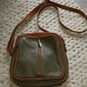 Valentina ITALIA green leather crossbody Purse Bag